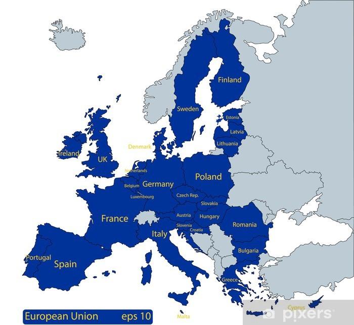 Länder Europas Karte.Aufkleber Karte Von Europa Mit Den Eu Ländern In Blau Hervorgehoben Pixerstick