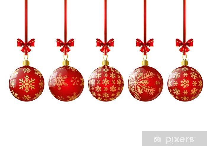 Christmas Balls.Red Christmas Balls With Snowflakes Wall Mural Vinyl