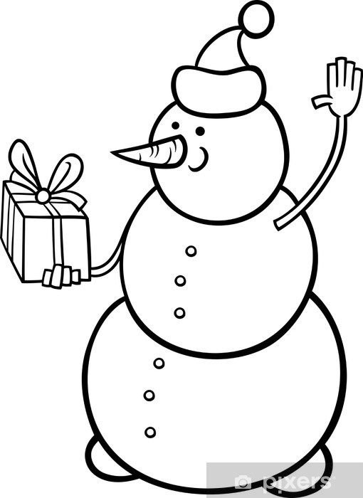 Christmas Snowman Coloring Page Wall Mural Pixers We Live To Change