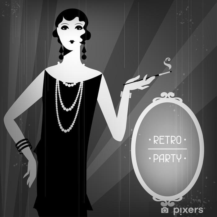 Klesskapklistremerke Retro fest bakgrunn med vakker jente av 1920-tallet stil. - Underholdning