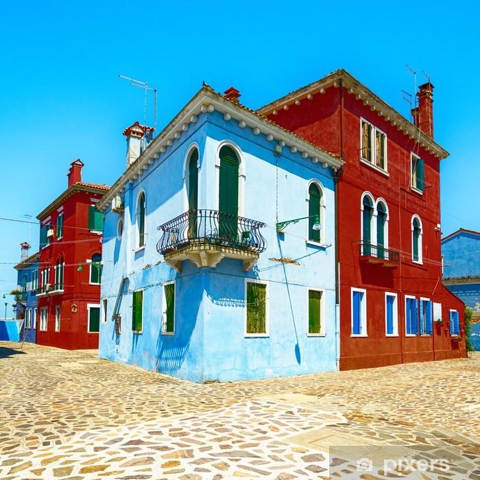 Fotomural Estándar Venecia, lugar de interés, calle de la isla de Burano, casas coloridas, Italia - Ciudades europeas