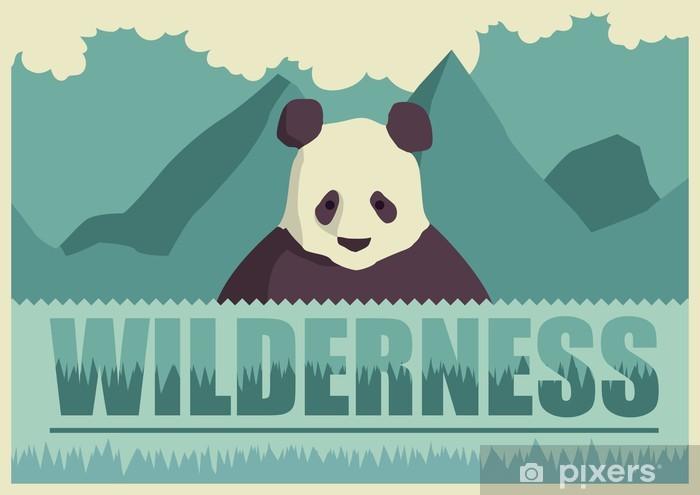 Vinyl-Fototapete Retro Poster mit Panda. - Säugetiere