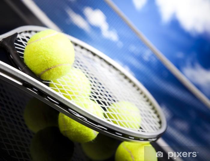 Sticker Pixerstick Raquette de tennis et boules, sport - Tennis