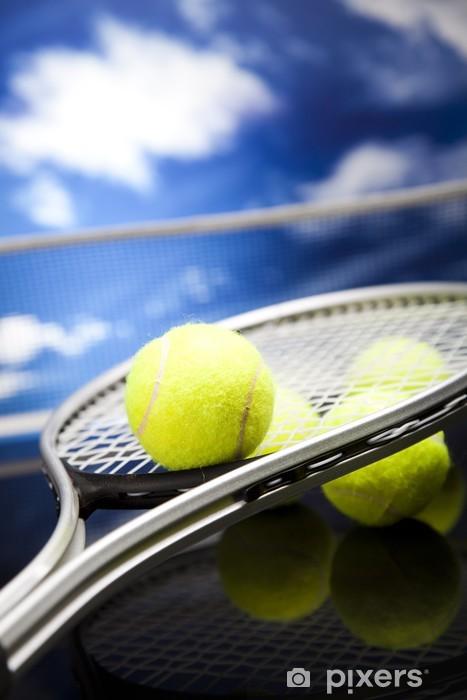 Naklejka Pixerstick Rakieta tenisowa i piłki, sportu - Tenis