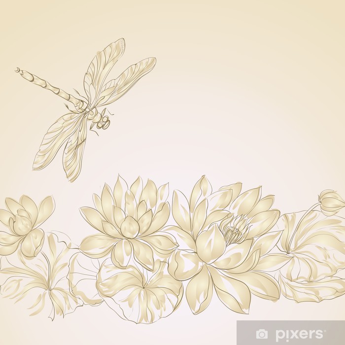 Lotus Flower And Dragonfly Wall Mural Pixers We Live To Change