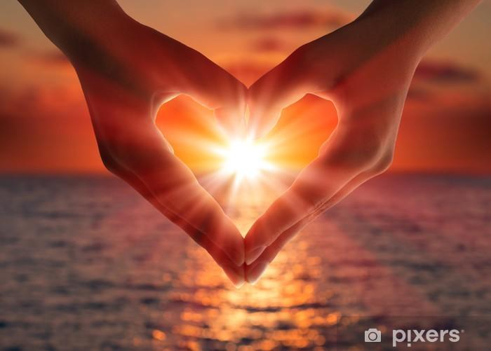 Pixerstick Sticker Zonsondergang in hart handen - Bestemmingen