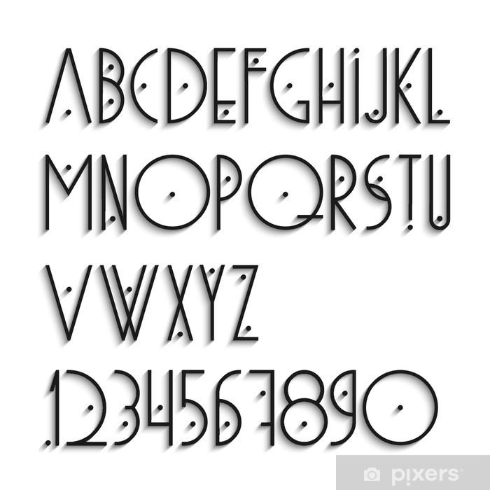 Plakat Eleganckie litery alfabetu i cyfry z cieniem - Tematy