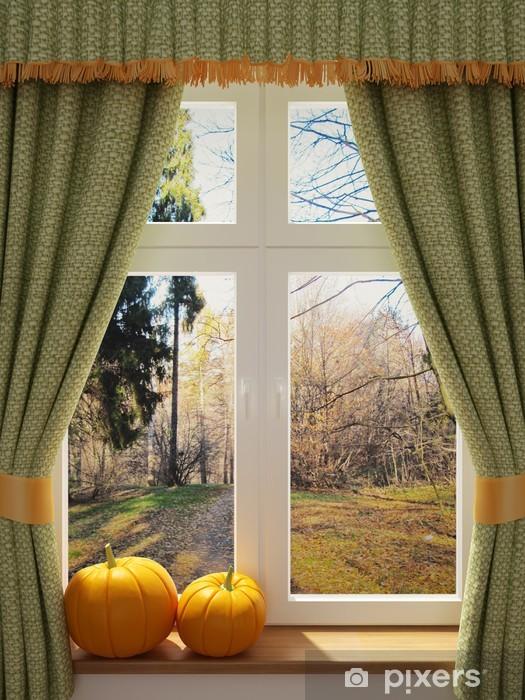 Fototapeta winylowa Okno z widokiem na piękne dynie - iStaging