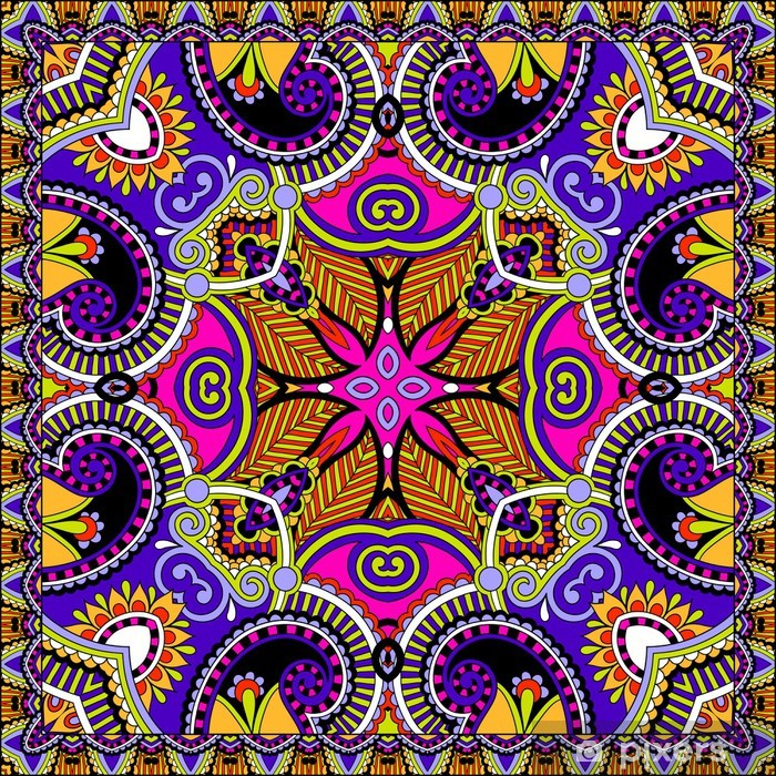 Poster Traditionele sier bloemen Paisley bandana - Stijlen