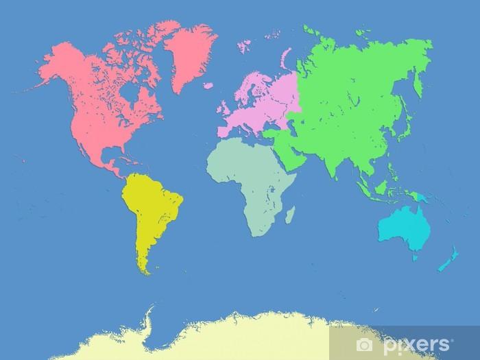 Karte Kontinente Welt.Fototapete Welt Und Kontinente Karte