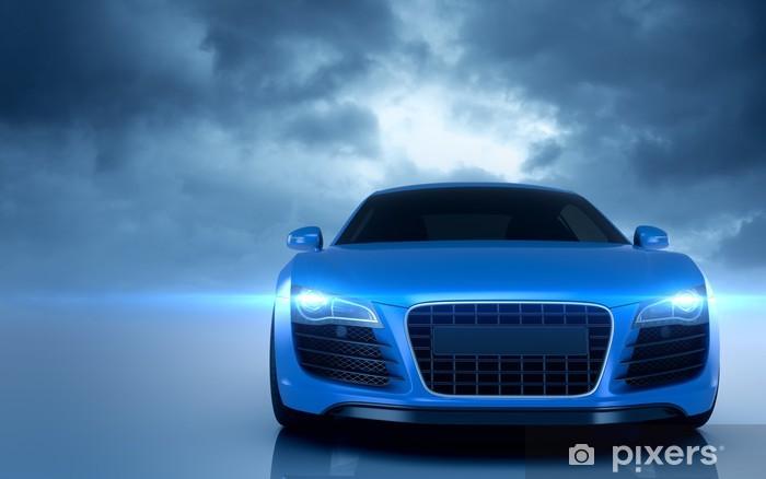 Papier peint vinyle Bleu voiture de sport -