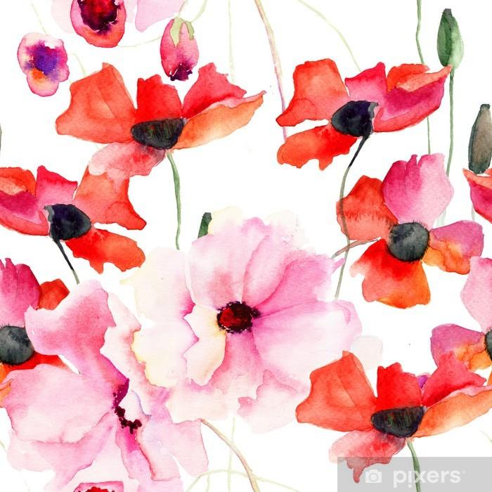 rosa tapet med blommor