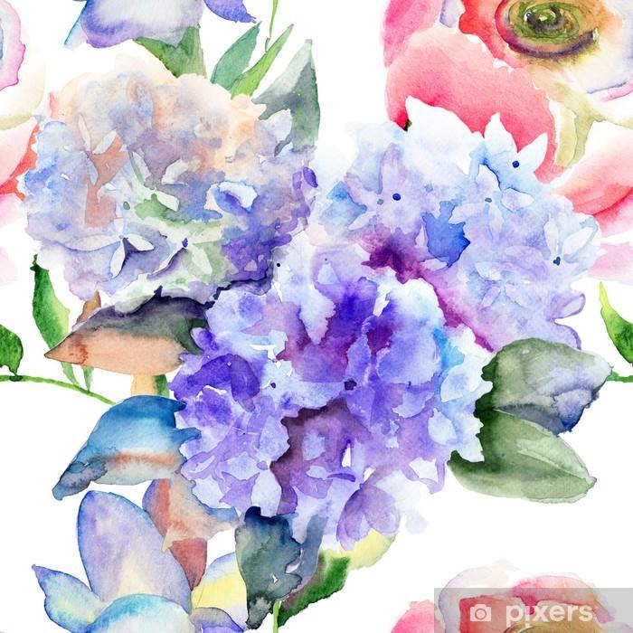 Beautiful Hydrangea blue flowers Pixerstick Sticker - Styles