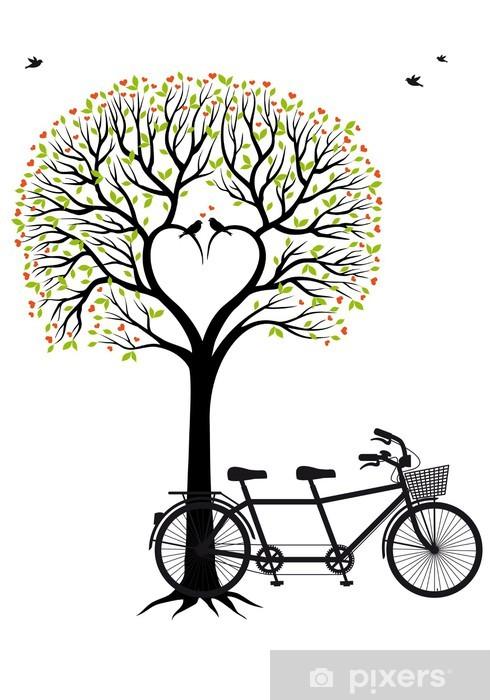Papier peint vinyle Arbre de coeur avec les oiseaux et les bicyclettes, vecteur - Destin