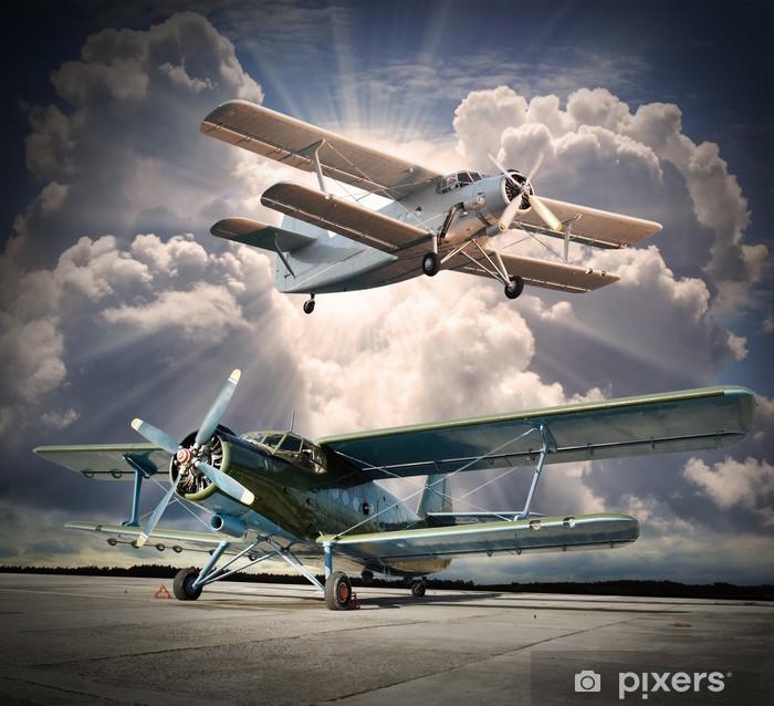 Plakat Retro styl obraz z biplanes. Temat transportu. - Tematy