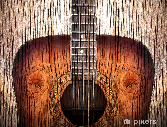 Acoustic guitar art on wooden background Vinyl Wall Mural - Themes