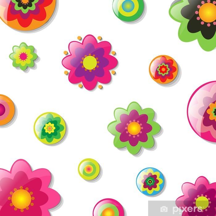 Vinilo Pixerstick Fondo Con Las Flores De Dibujos Animados Pixers