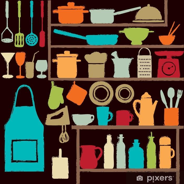 Fototapeta winylowa Kolorowe ikony sylwetka kuchni - Tematy