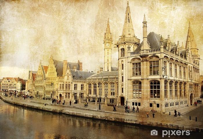 Fototapeta winylowa Belgia - Gandawa - obraz w stylu retro -