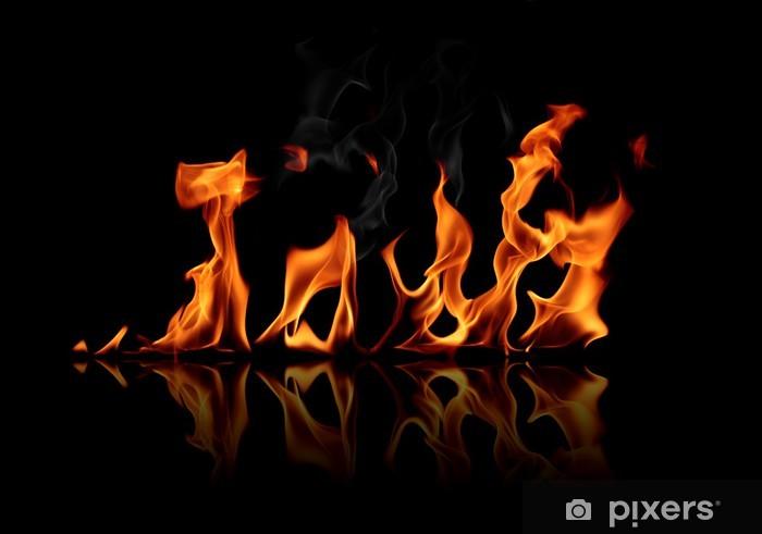 Nálepka Pixerstick Plameny ohně na černém pozadí - Struktury