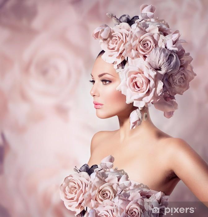 Fashion Beauty Model Girl with Flowers Hair. Bride Vinyl Wall Mural - Fashion