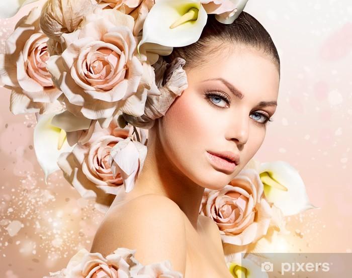Naklejka na szybę i okno Dziewczyna Beauty Hair Fashion Model z kwiatów. Panna młoda - Tematy