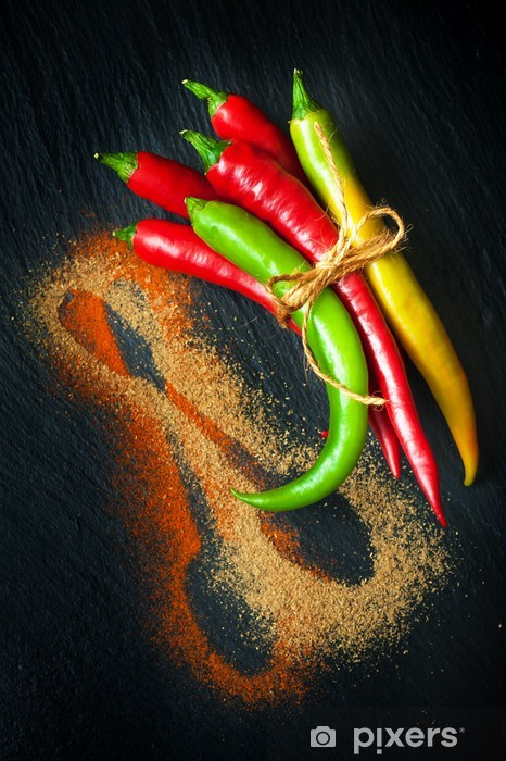 Colorful hot chili peppers on a chalkboard Pixerstick Sticker - Spices, Herbs and Condiments