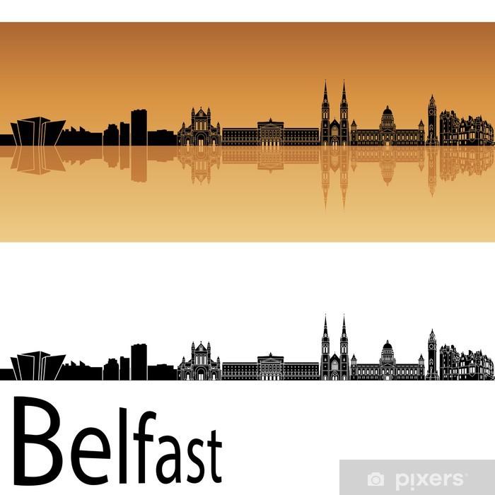 Plakat Belfast skyline w pomarańczowym tle - Europa