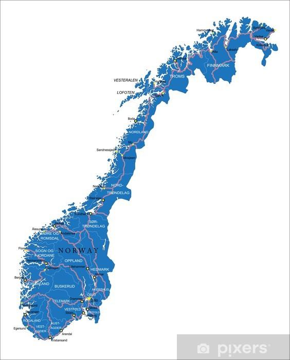 Fototapeta winylowa Norwegia mapa - Azja