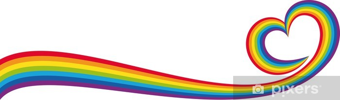Papier peint lavable Bannière cuore arcobaleno - Les arcs-en-ciel