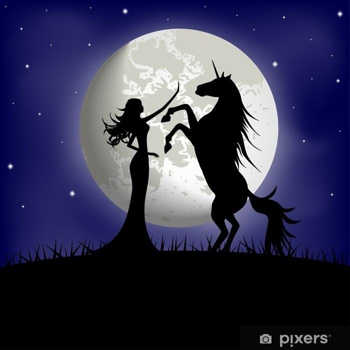 Vinilo para Armario Silueta de chica hermosa y unicornio en un fondo de la luna - Fantasía