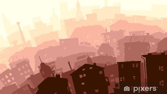 Vinyl Fotobehang Abstracte illustratie van de grote stad in zonsondergang. - Stedelijk