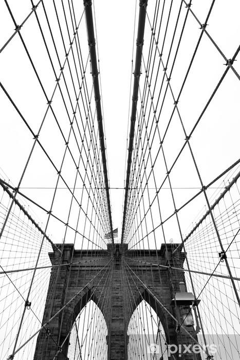 Papier peint vinyle Pont de brooklyn noir et blanc - Styles
