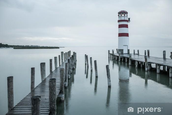 Naklejka Pixerstick Latarnia morska w deszczu - Latarnia morska
