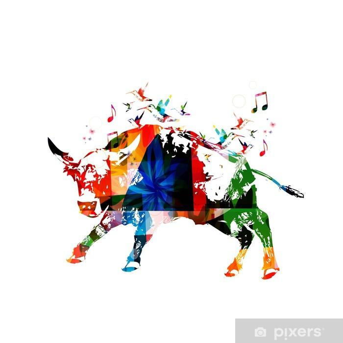 Papier peint vinyle Colorful vecteur taureau fond avec les colibris - Art et création