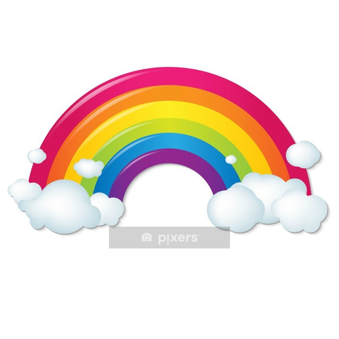 Color Rainbow With Clouds Wall Decal - Wall decals