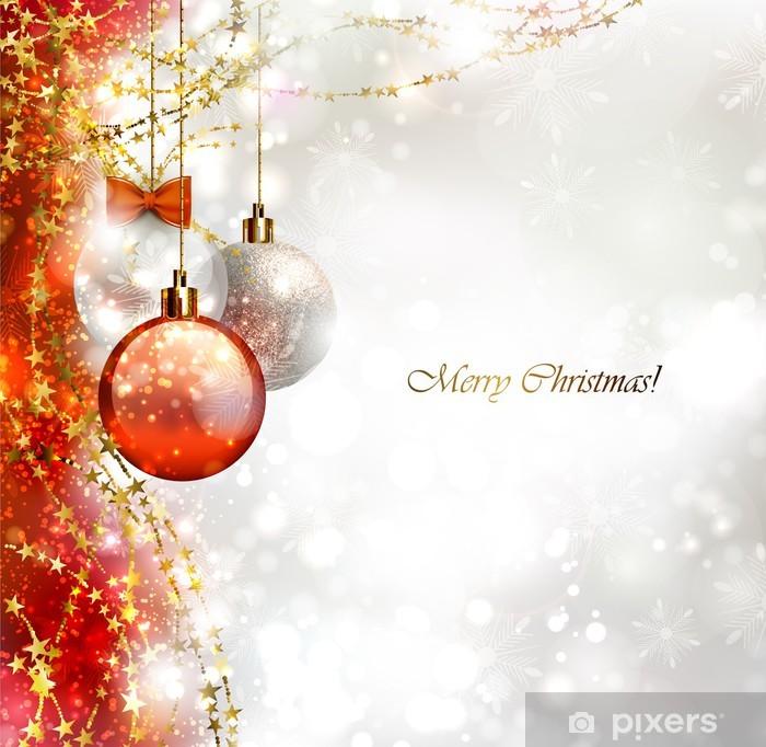 Fotobehang Kerst Achtergrond Met Drie Kerstballen Pixers We