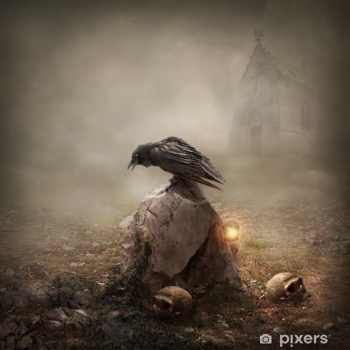 Poster Corbeau, assis sur une pierre tombale - Animaux imaginaires