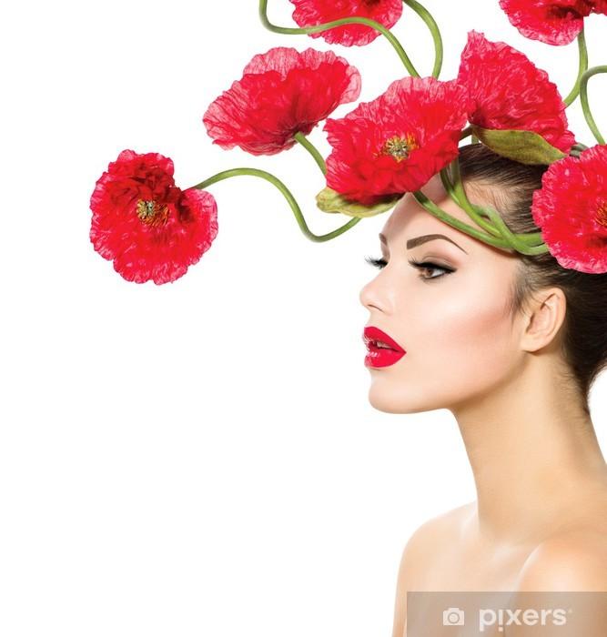 Adesivo Bellezza Modella Donna con fiori di papavero rosso ...