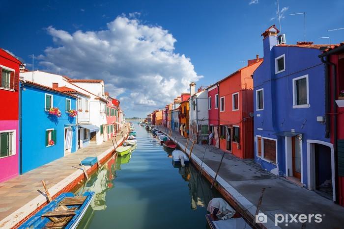 Vinyl Fotobehang Veelkleurige huizen in Burano eiland. Venetië. Italië. - Thema's