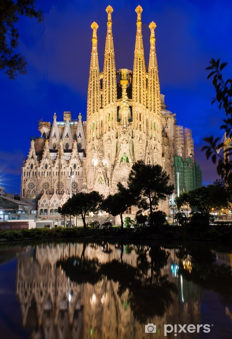 Night view of Sagrada Familia in Barcelona. Spain Vinyl Wall Mural - Themes