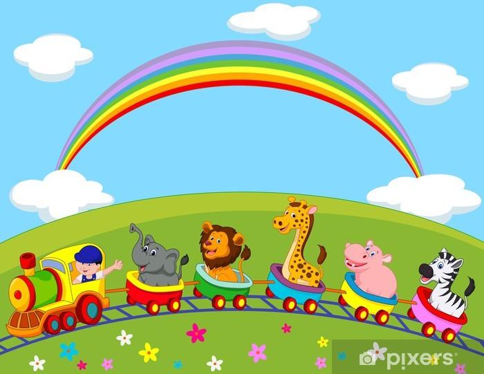Papier peint vinyle Train de dessin animé des animaux - Pour enfant 5 ans