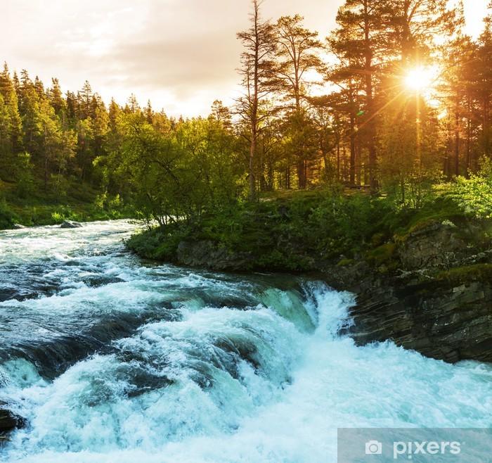 Papier peint vinyle Rivière en Norvège - Thèmes