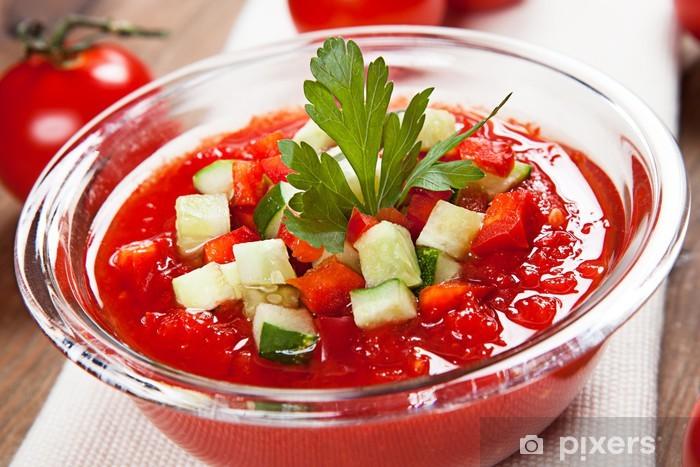Vinyl Fotobehang Heerlijke en smaakvolle gazpacho soep dieet - Maaltijden