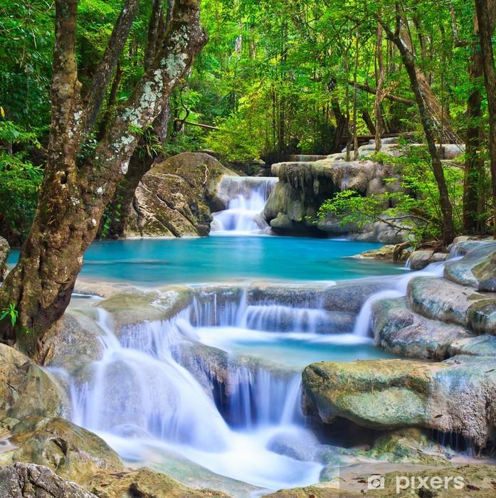Erawan waterfall in Kanchanaburi province of Thailand Pixerstick Sticker - Themes