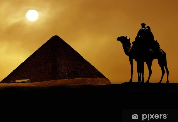 Sticker Pixerstick Symbole de l'Égypte - Pyramide, Chameau, sable et du soleil - Afrique