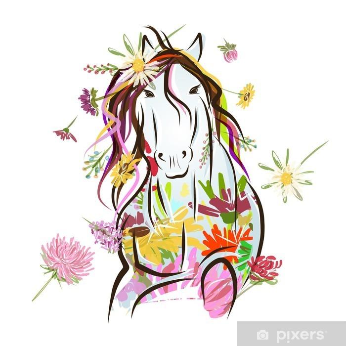 Afwasbaar Fotobehang Paard schets met florale decoratie voor uw ontwerp. Symbool van - Muursticker