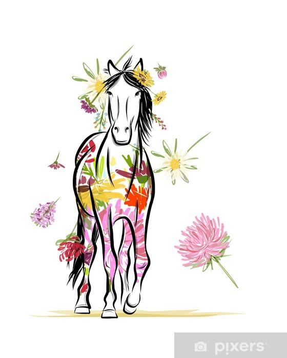 Sticker Pixerstick Croquis de cheval avec décor floral pour votre design. Symbole du - Sticker mural