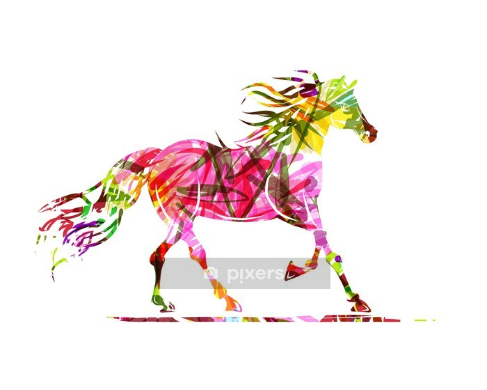 Horse sketch with floral ornament for your design. Symbol of Wall Decal - Themes