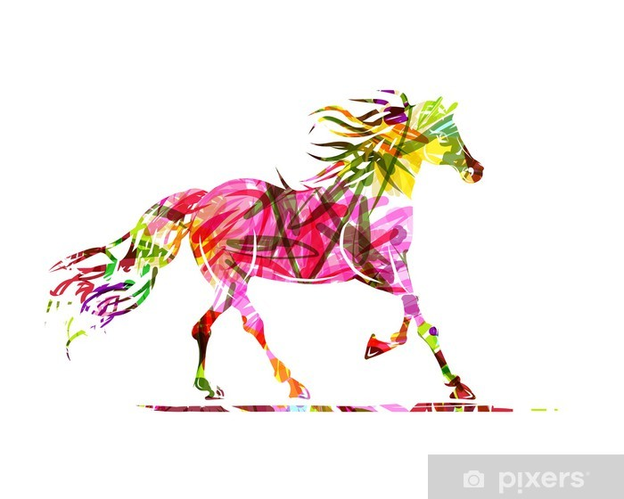 Horse sketch with floral ornament for your design. Symbol of Pixerstick Sticker - Themes
